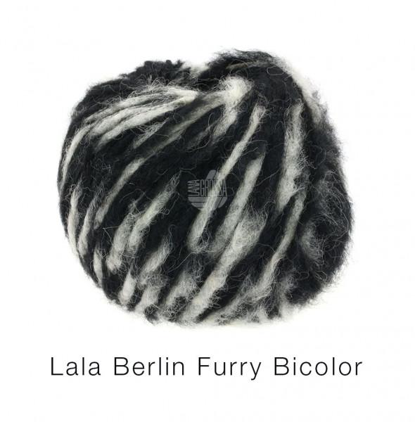 Lana Grossa Lala Berlin Furry Bicolor 103 Schwarz/Rohweiß 50g