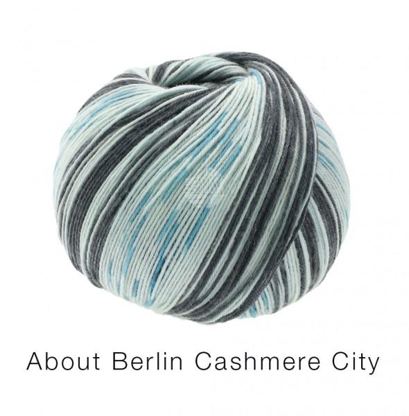 Lana Grossa About Berlin Meilenweit 100 Cashmere City 868 Grauweiß/Schwarz/Türkis 100g
