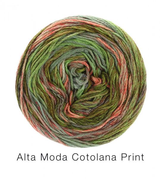 Lana Grossa Alta Moda Cotolana Print 102 Dunkeloliv/Oliv/Graugrün/grtau/Burgund/Lachs 100 g