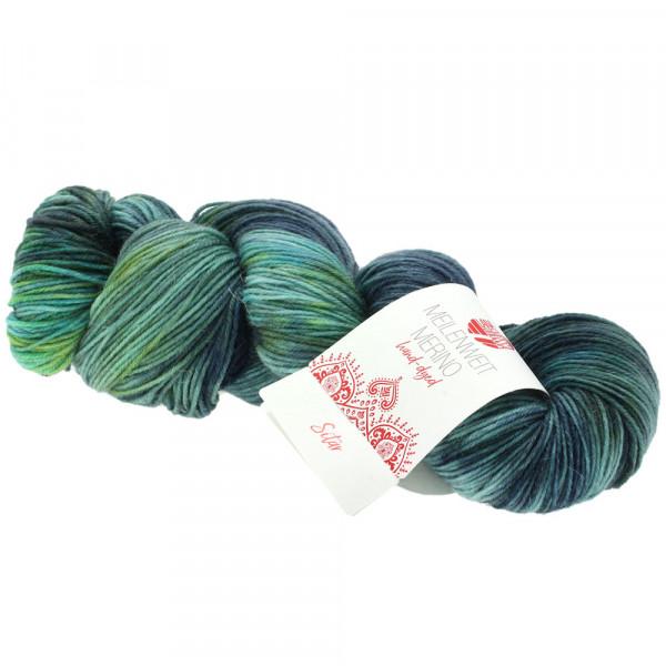 Lana Grossa Meilenweit 100 Merino hand-dyed 403 Dunkel-/Grünblau/Jeans/Dunkelpetrol/Schwarzgrün 100g