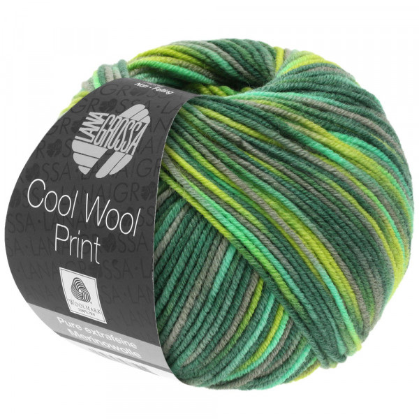 Lana Grossa Cool Wool 2000 Print 820 Hell-/Dunkel-/Gelbgrün/Grau/Jade 50g