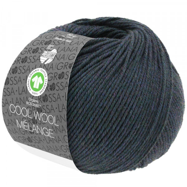 Lana Grossa Cool Wool 2000 Mélange GOTS 104 Blaugrau Meliert 50g
