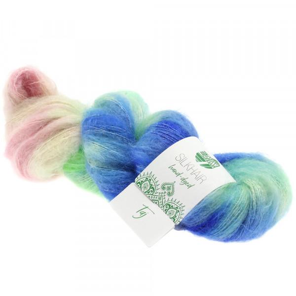 Lana Grossa Silkhair hand-dyed 602 Blau/Mint/Zartgrün/Hellgrau/Rosa/Grau 50g