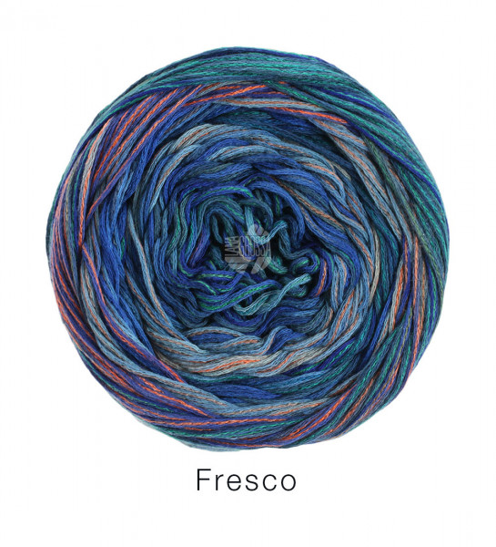 Lana Grossa Fresco 004 Hellblau/Jeans/Tinte/Grau/Hellgrau/Orangebraun 100g