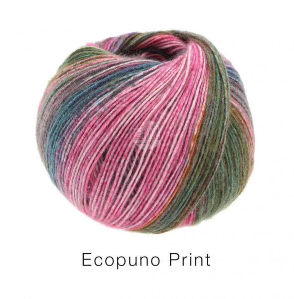 Lana Grossa Ecopuno Print 202 Petrol/Pink/Orange/Dunkel-/Graugrün 50g