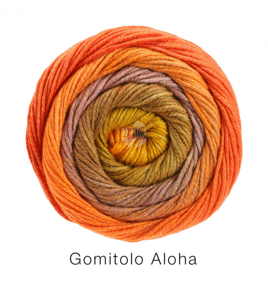 Lana Grossa Gomitolo Aloha 306 Gelb-/Orangerot/Goldbraun/Rosenholz/Nussbraun 100g