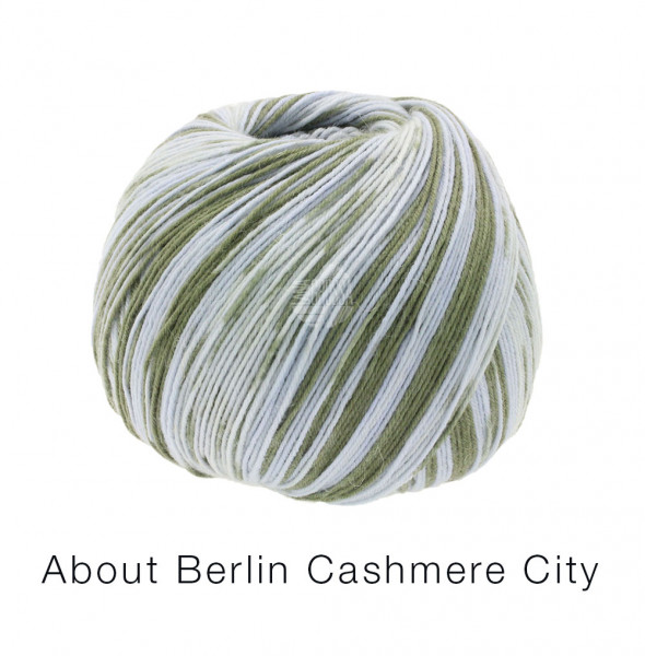 Lana Grossa About Berlin Meilenweit 100 Cashmere City 862 Hellgrau/Oliv 100g
