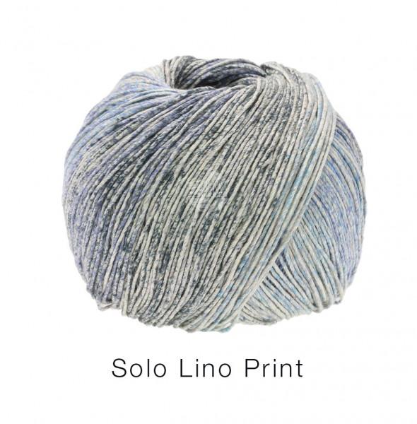Lana Grossa Solo Lino Print 154 Graubeige/Hellblau/Jeans/Dunkelgrau 100g