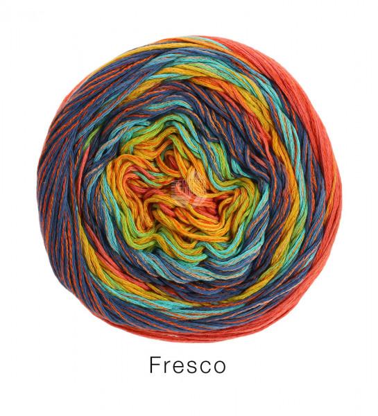 Lana Grossa Fresco 007 Rotorange/Marine/Hellpetrol/Kürbis/Gelb 100g