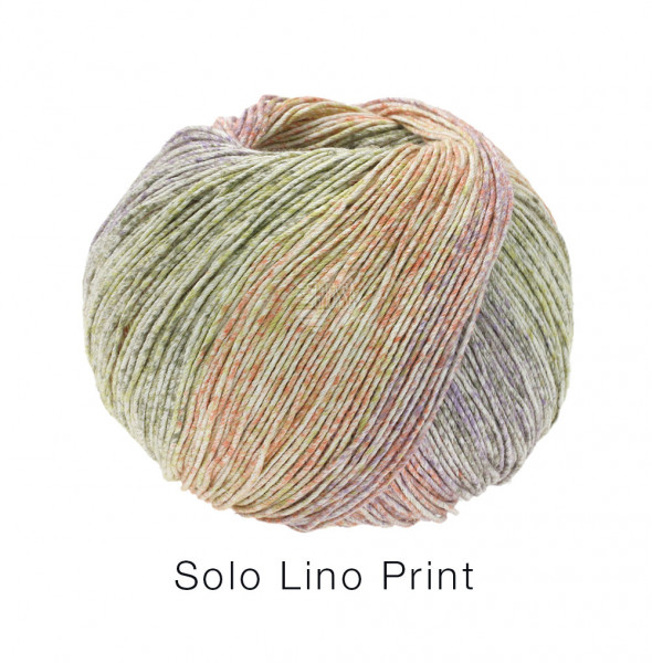 Lana Grossa Solo Lino Print 156 Graubeige/Senfgelb/Lachs/Grau 100g