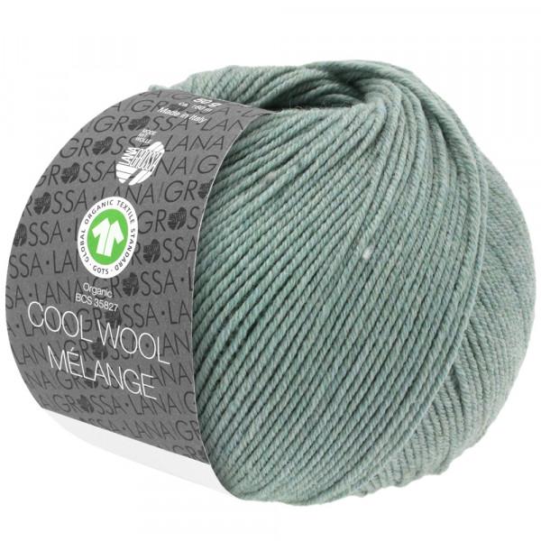 Lana Grossa Cool Wool 2000 Mélange GOTS 109 Graugrün Meliert 50g