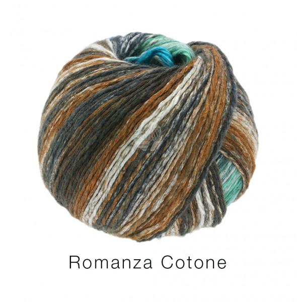 Lana Grossa Romanza Cotone 008 Türkis/Dunkel-/Graugrün/Natur 50g