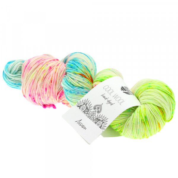 Lana Grossa Cool Wool hand-dyed 103 Rohweiß/Neongelb/Pink/Türkis/Oliv 100g