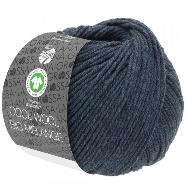 Lana Grossa Cool Wool Big Mélange GOTS 211 Schwarzblau Meliert 50g