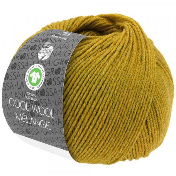 Lana Grossa Cool Wool 2000 Mélange GOTS 108 Dunkeloliv/Olivgelb meliert 50g