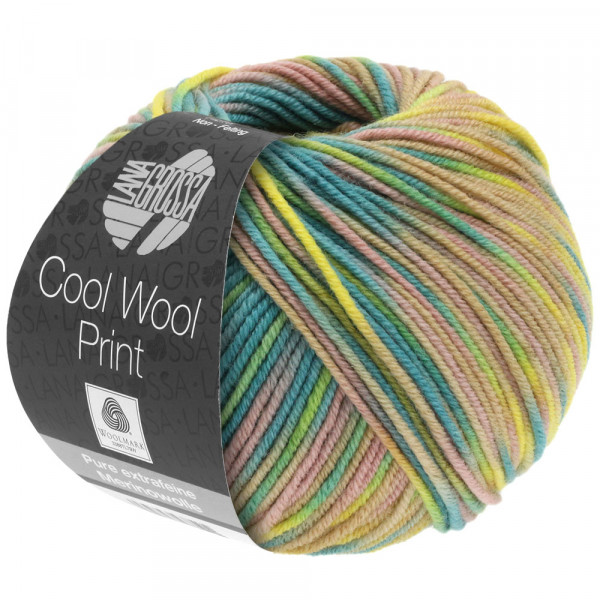 Lana Grossa Cool Wool 2000 Print 819 Zitrusgelb/Petrol/Hellgrün/Rosenholz/Beige 50g