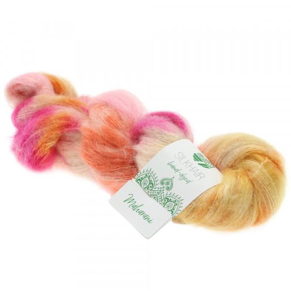 Lana Grossa Silkhair hand-dyed 605 Lachs/Orange/Rost/Ecru/Bernstein/Rosa/Fuchsia 50g