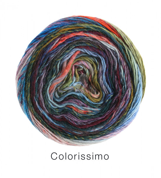 Lana Grossa Colorissimo 006 Umbra/Pflaume/Türkisblau/Violett/Lachs/Grau/Beere 100g