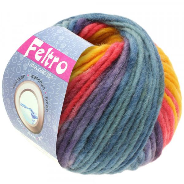 Lana Grossa FELTRO PRINT 0383 Dottergelb/Himbeer/Violett/Petrolblau 50g