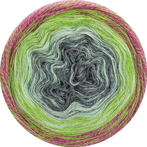 Lana Grossa Shades Of Merino Cotton 617 Altrosa/Grün/ Weiß/Mittelgrau 200g
