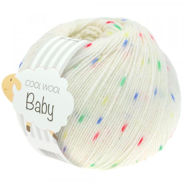 Lana Grossa Cool Wool Baby Print Punto 351 Weiß/Blau/Grün/Gelb/Rot 50g