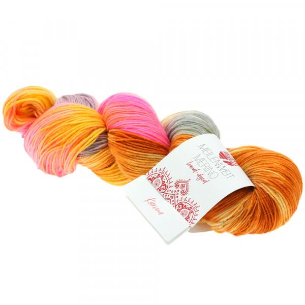 Lana Grossa Meilenweit 100 Merino hand-dyed 402 Lachs/Cognac/Grua/Khaki/Rosa/Pink/Curry 100g
